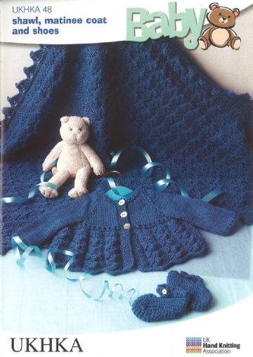 Baby Shawl,Matinee Coat & Shoes DK Knitting Pattern 14-18 inches UKHKA 48